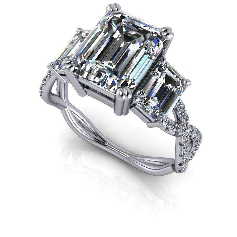 3.76 CTW Forever One Moissanite Emerald Cut Three Stone Engagement Ring-Forever One-Bel Viaggio Designs-Bel Viaggio®