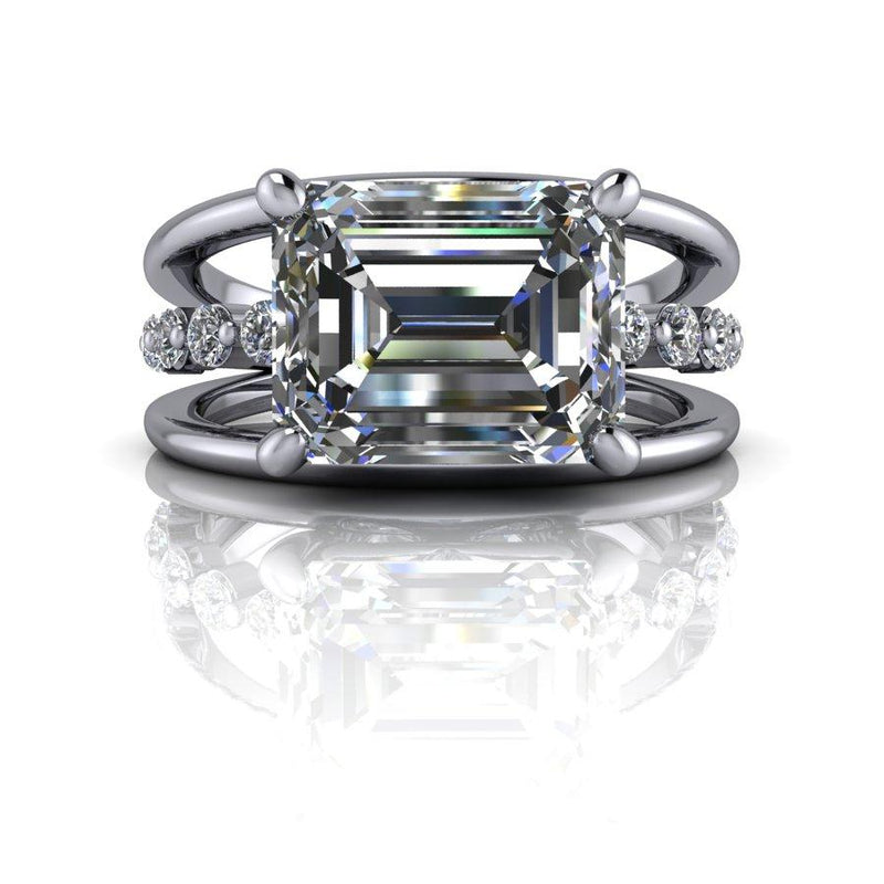 3.80 CTW Emerald Cut Moissanite East West Ring, DEF Color-Bel Viaggio Designs