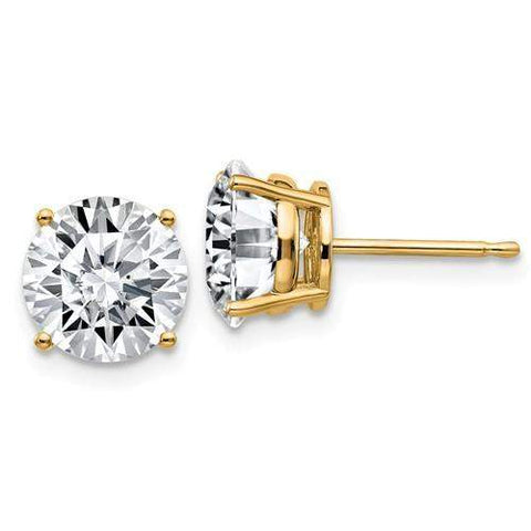 3.80 CTW Stud Earrings - 14kt Gold Round Moissanite 4-Prong Basket Post Earrings-BVD