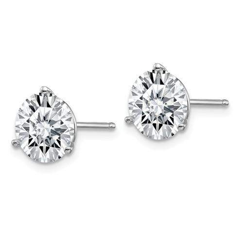 3.80 CTW Stud Martini Earrings - 14kt Gold Round Moissanite 3-Prong Basket Post Earrings-Bel Viaggio Designs, LLC