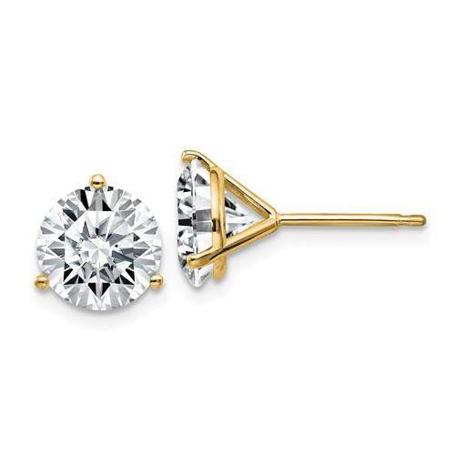 3.80 CTW Stud Martini Earrings - 14kt Gold Round Moissanite 3-Prong Basket Post Earrings-Bel Viaggio Designs
