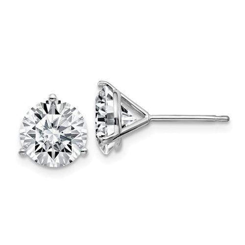 3.80 CTW Stud Martini Earrings - 14kt Gold Round Moissanite 3-Prong Basket Post Earrings-BVD