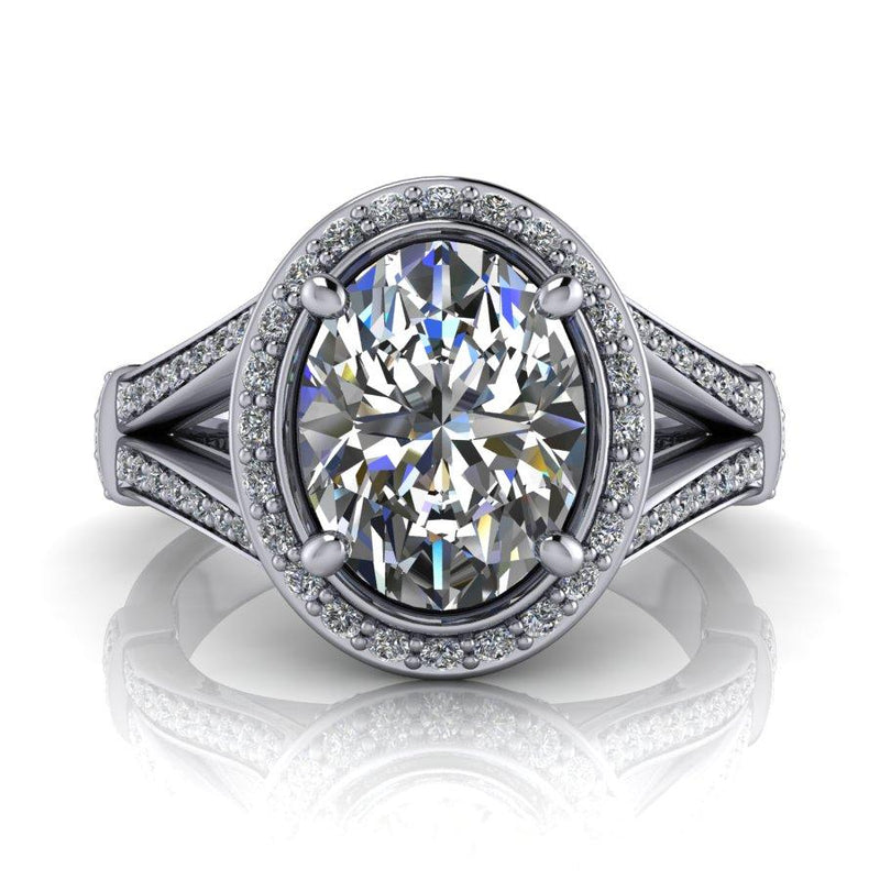 3.81 CTW DEF Color Oval Moissanite Halo Engagement Ring-Bel Viaggio Designs