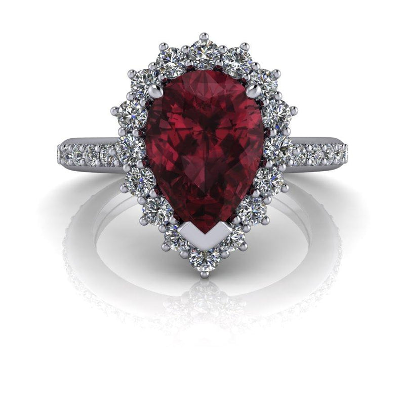 3.81 CTW Lab Grown Diamond and & Garnet Rhodolite Bridal Set-Bel Viaggio Designs