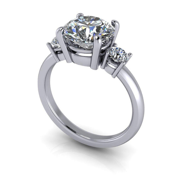 3.82 ctw Round Charles & Colvard Colorless Moissanite Engagement Ring/Bridal Set-Bel Viaggio Designs