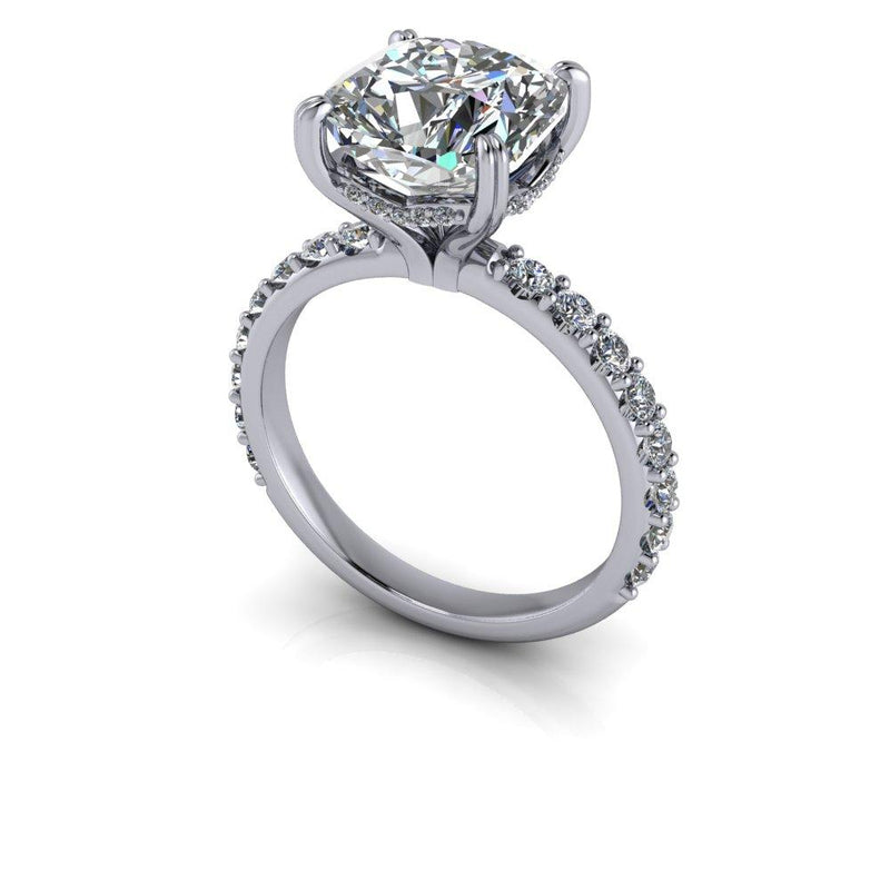 3.83 CTW Cushion Cut Colorless Moissanite Engagement Ring-Bel Viaggio Designs