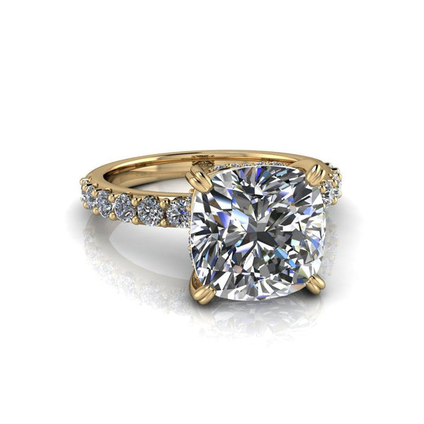 3.83 CTW Cushion Cut Forever One Colorless Moissanite Engagement Ring-Bel Viaggio Designs