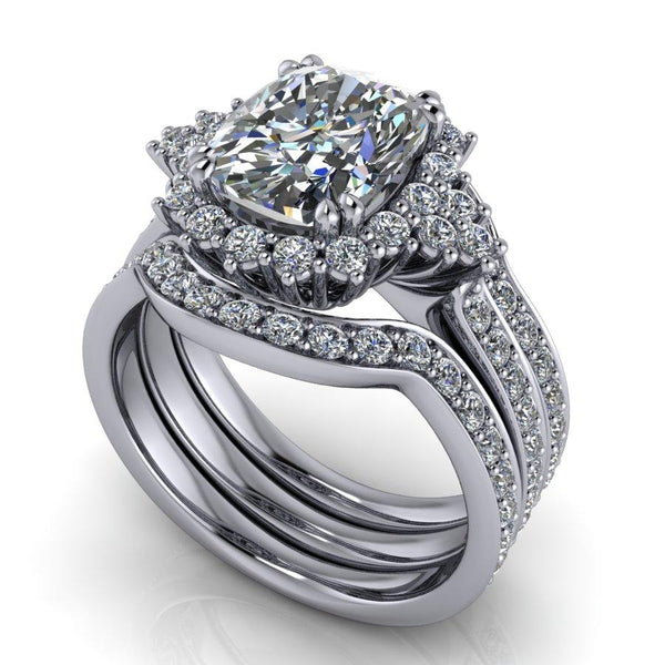 3.83 ctw Elongated Cushion Cut Halo Engagement Ring Bridal Set-Bel Viaggio Designs