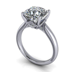 3.84 CTW Colorless Moissanite Bridal Set - Cushion Cut Milgrain Accented Engagement Ring-Bel Viaggio Designs, LLC