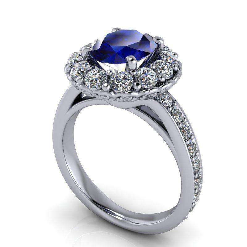 3.26 CTW Sapphire and Forever One Moissanite Halo Engagement Ring-BVD