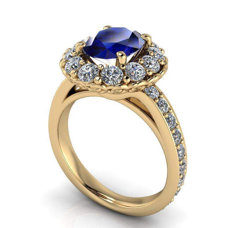 3.86 CTW Sapphire and Lab Grown Diamond Halo Engagement Ring-Bel Viaggio Designs
