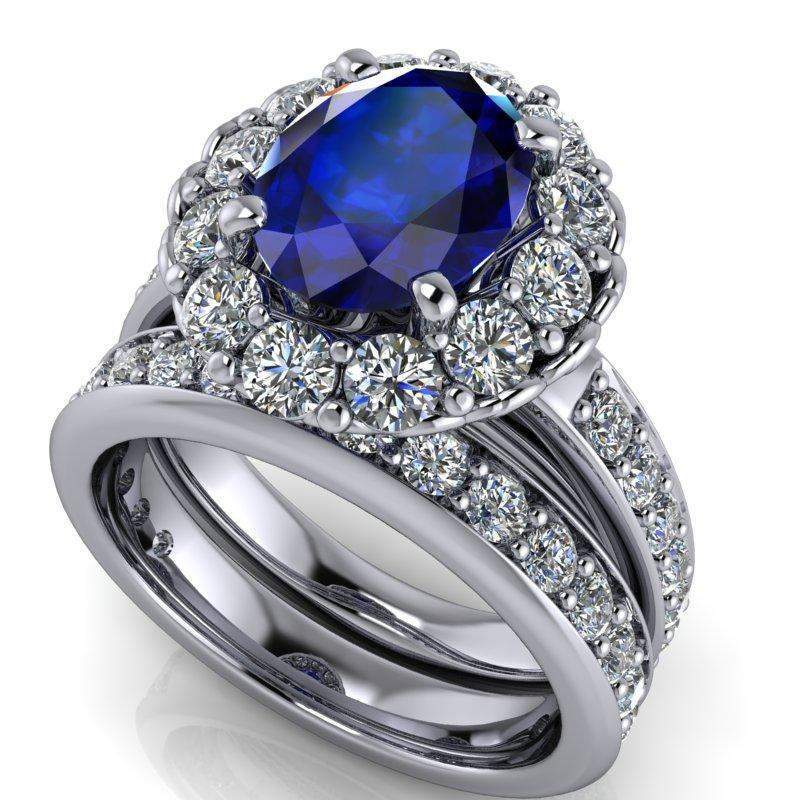 3.86 CTW Stacy K Opulence Limited Edition Sapphire & Forever One Moissanite Bridal Set-BVD