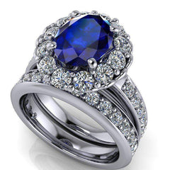 3.86 CTW Stacy K Opulence Limited Edition Sapphire & Forever One Moissanite Bridal Set-Bel Viaggio Designs, LLC