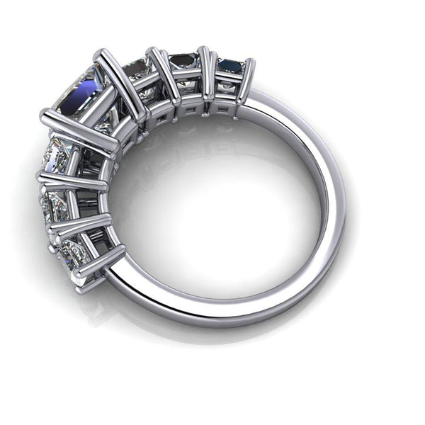 3.88 CTW Princess Cut Moissanite Seven Stone Anniversary Ring-Bel Viaggio Designs