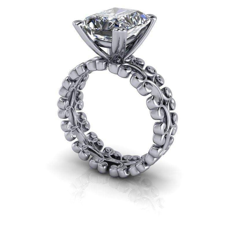 3.90 CTW Radiant Cut Moissanite Solitaire Engagement Ring - Insieme Bridal Stackables®-Bel Viaggio Designs