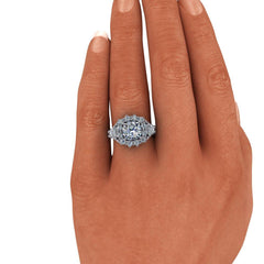 3.93 ctw Cushion Charles & Colvard Colorless Moissanite Engagement or Anniversary Ring-Bel Viaggio Designs