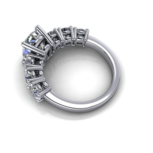 3.94 CTW Elongated Cushion Cut Moissanite Anniversary Ring-Bel Viaggio Designs