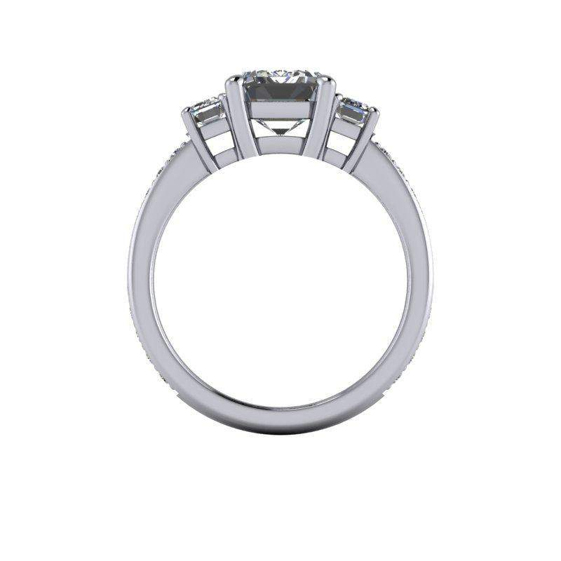 3.94 CTW Forever One Moissanite Bridal Set - Emerald Cut Three Stone Engagement-Forever One-Bel Viaggio Designs-Bel Viaggio®