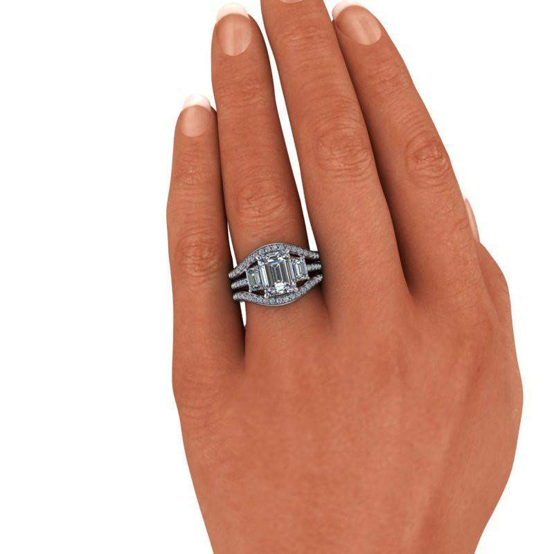 3.94 CTW Forever One Moissanite Bridal Set - Emerald Cut Three Stone Engagement-Bel Viaggio Designs
