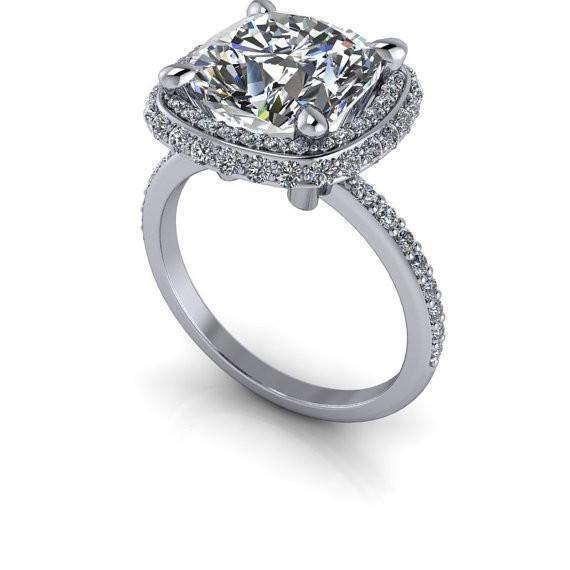3.95 CTW Halo Engagement Ring Cushion Cut Colorless Moissanite Ring-Bel Viaggio Designs