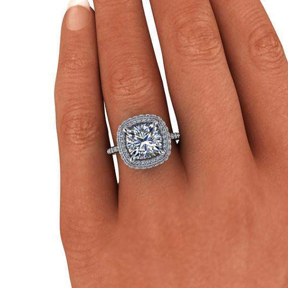 3.95 CTW Double Halo Engagement Ring Cushion Cut Colorless Moissanite Ring-BVD