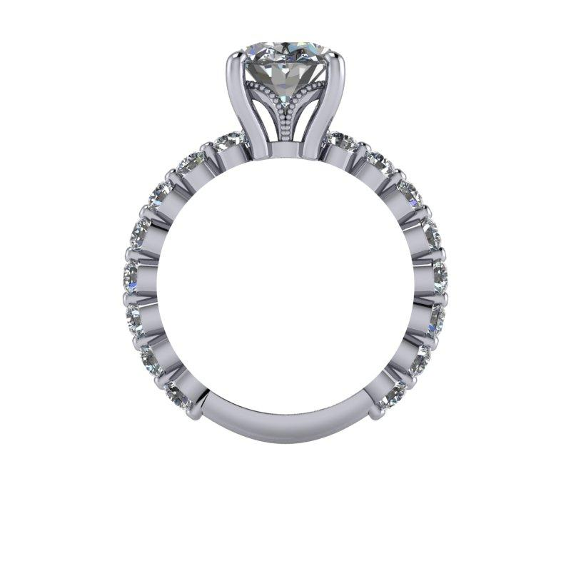 3.95 CTW Oval Cut Forever One Moissanite Engagement Ring-Forever One-Bel Viaggio Designs-Bel Viaggio®