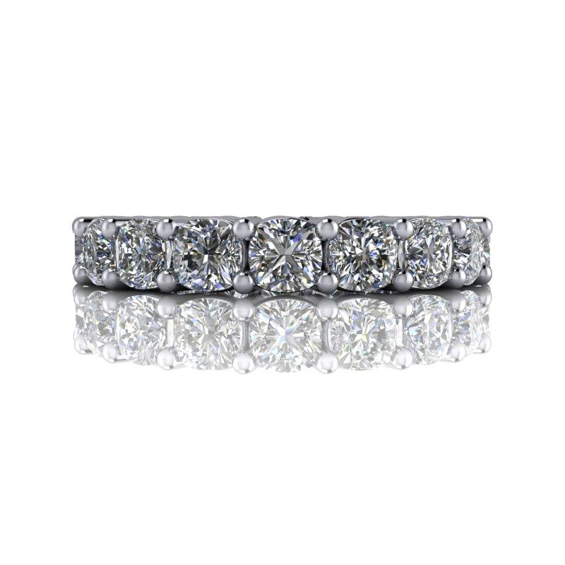 3.96 CTW Cushion Cut DEF Color Moissanite Anniversary Ring, Eternity Ring-Bel Viaggio Designs