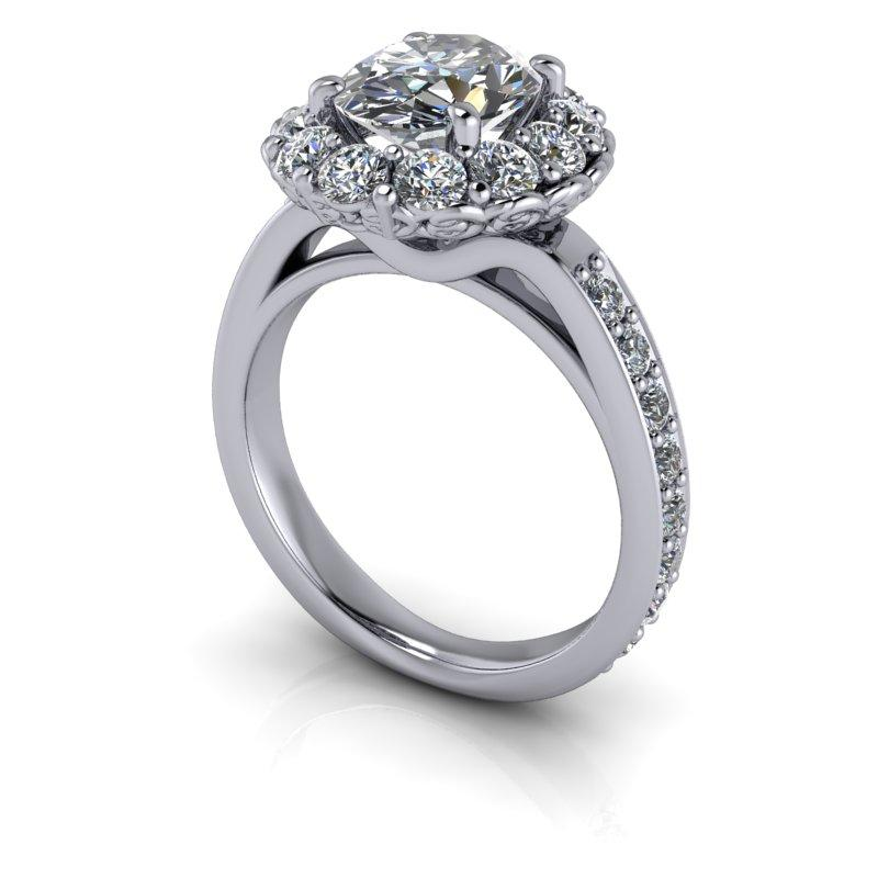 3.96 CTW Oval Forever One Moissanite Halo Bridal Set-Bel Viaggio Designs