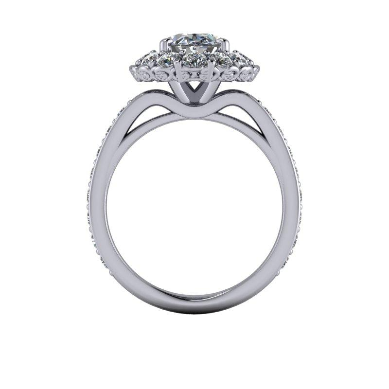 3.96 CTW Oval Forever One Moissanite Halo Bridal Set, Stacy K Limited Edition-Bel Viaggio Designs, LLC