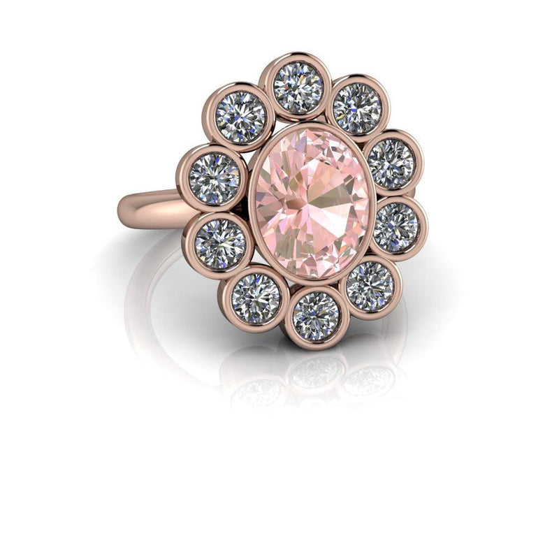 Flower Style Ring Morganite Engagement Ring 3 ctw-Bel Viaggio Designs