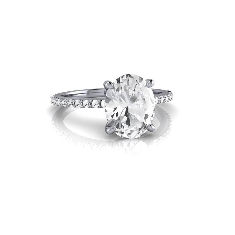 Oval Natural White Sapphire Engagement Ring 3.59 ctw-Bel Viaggio Designs