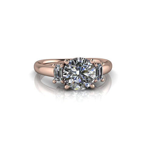 1.80 CTW Hearts and Arrows Round Charles & Colvard Three Stone Engagement Ring