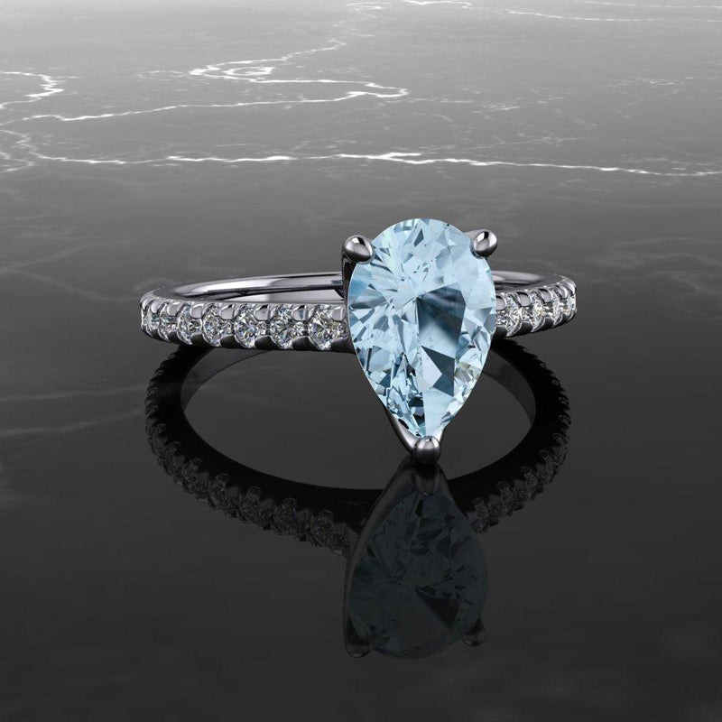 1.55 CT Pear Aquamarine & Diamond Engagement Ring-Bel Viaggio Designs