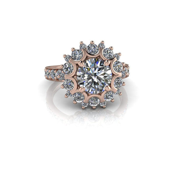 2.68 CTW Halo Ring Forever One Moissanite Engagement Ring-Bel Viaggio Designs