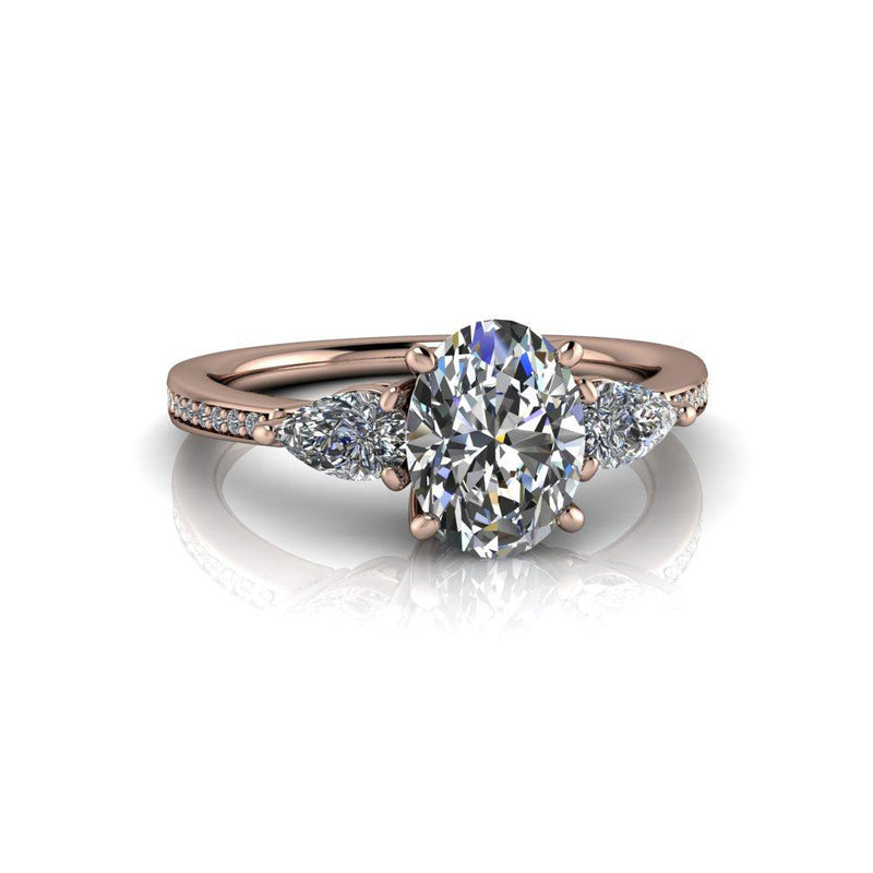 2.02 ctw Oval & Pear Forever One Moissanite Three Stone Ring-Bel Viaggio Designs