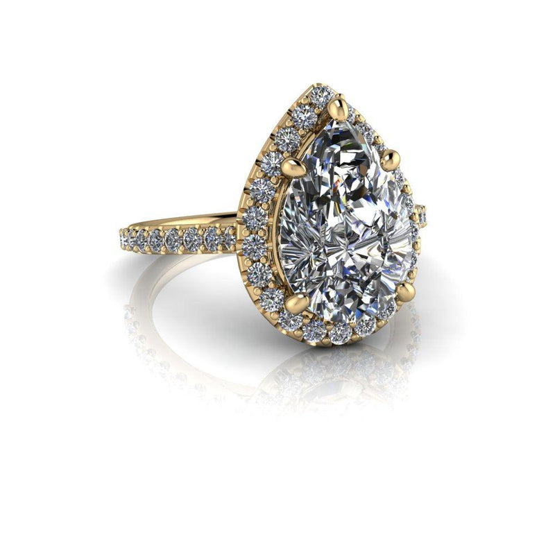 4.22 CTW Pear Shape Forever One Moissanite Halo Ring-Bel Viaggio Designs