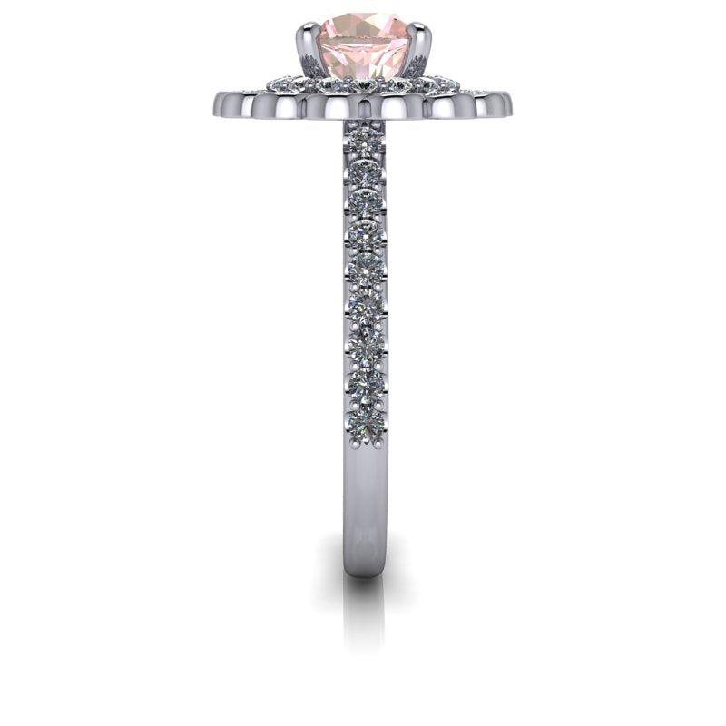 1.62 ctw Morganite & Diamond Halo Engagement Ring-Bel Viaggio Designs