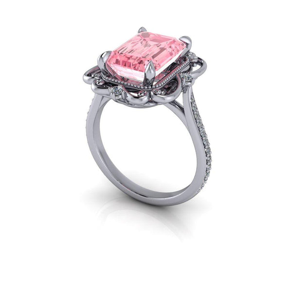 4.19 CTW Emerald Cut Pink Moissanite & Lab Grown Diamond Halo Engagement Ring-Bel Viaggio Designs