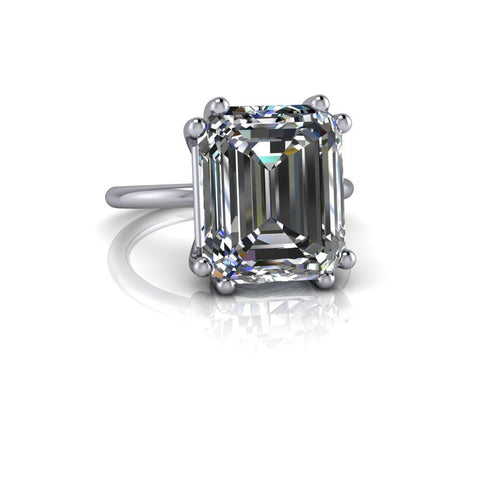 Emerald Cut Colorless Moissanite Engagement Ring 6.77 CTW-Bel Viaggio Designs