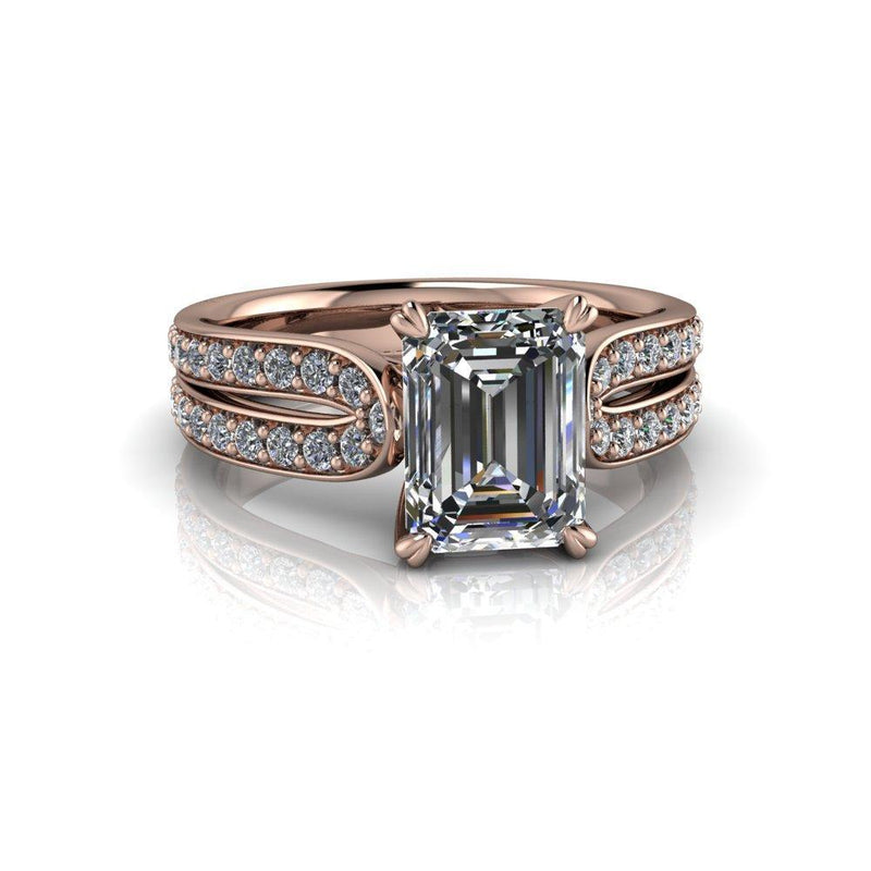 2.26 CWT Emerald Cut Colorless Moissanite and Lab Grown Diamond Engagement Ring-Bel Viaggio Designs