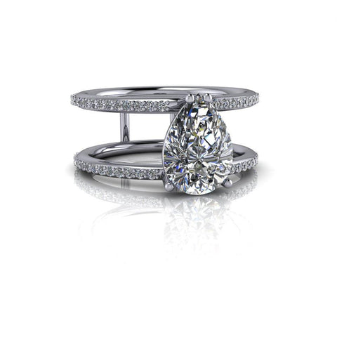 Pear Forever One Moissanite & Diamond Engagement Ring 2.40 ctw-Bel Viaggio Designs