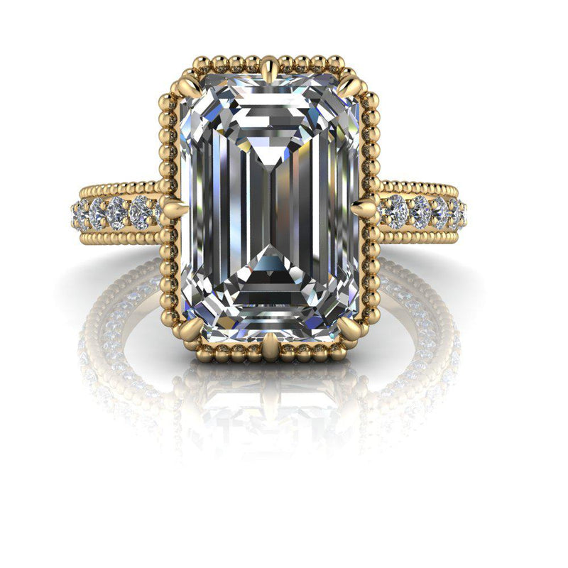 Emerald Cut Moissanite Cathedral Engagement Ring 5.90 ctw-Bel Viaggio Designs