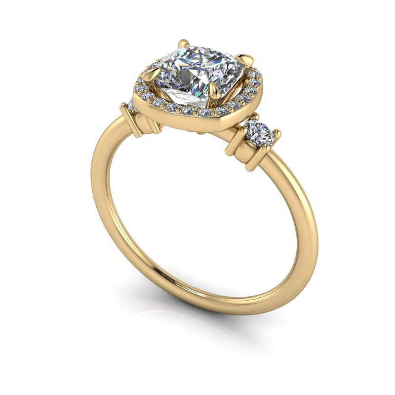 1.32 ctw Charles & Colvard Cushion Cut Moissanite Three Stone Engagement Ring-Bel Viaggio Designs
