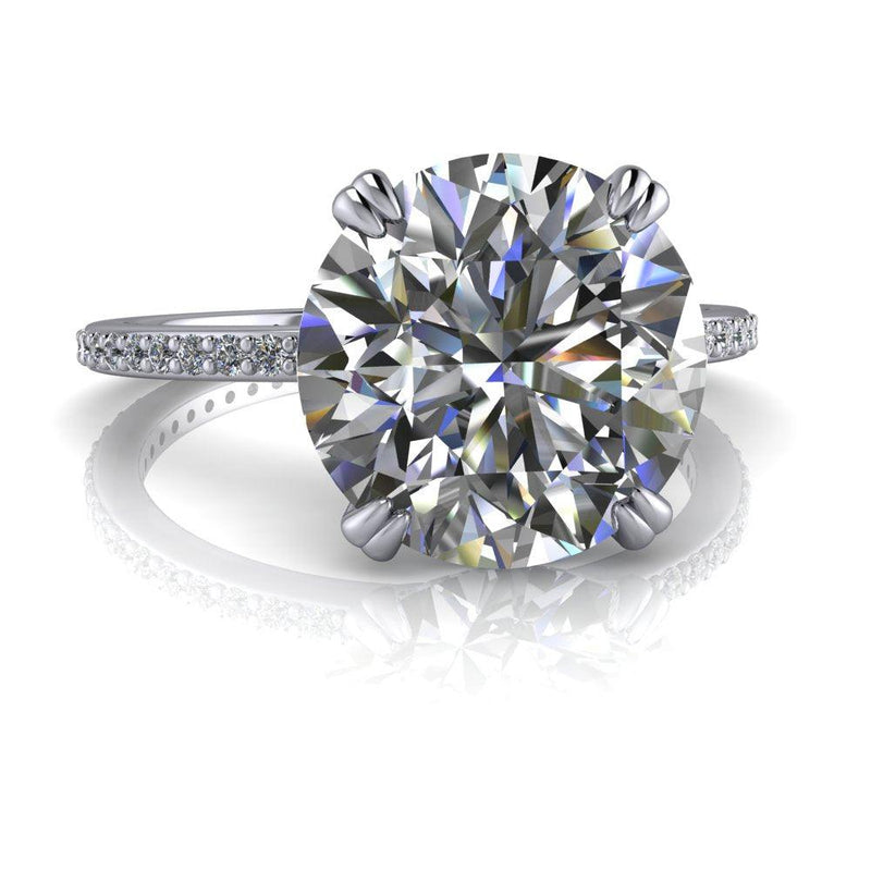 3.35 ctw Round Charles & Colvard Moissanite Stacking Engagement Ring-Bel Viaggio Designs