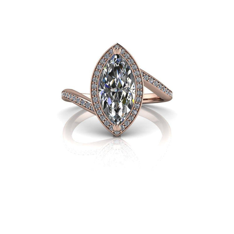 2.04 CTW Marquise Moissanite Engagement Ring-Bel Viaggio Designs