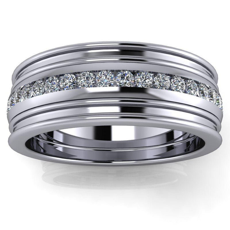 Platinum Men's Wedding Band 7mm Diamond Band .25 ctw-Bel Viaggio Designs