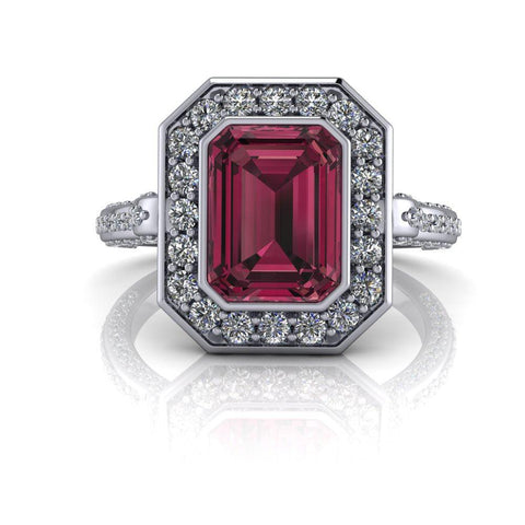 2.65 CTW Emerald Cut Raspberry Rhodolite Garnet & Diamond Engagement Ring-Bel Viaggio Designs
