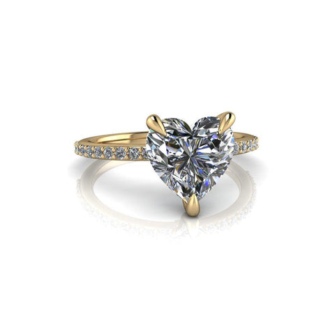 2.00 CTW Hearts Shape Forever One Moissanite Engagement Ring-Bel Viaggio