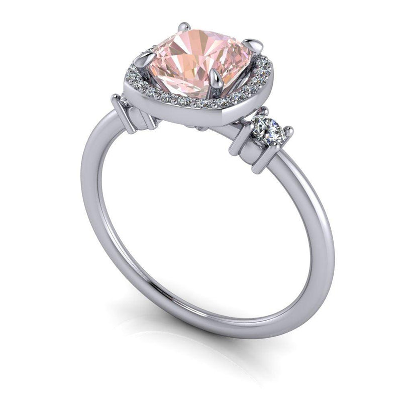 1.20 ctw Morganite & Lab Grown Diamond Three Stone Ring-Bel Viaggio Designs