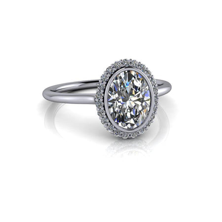 Oval Colorless Moissanite Halo Engagement Ring